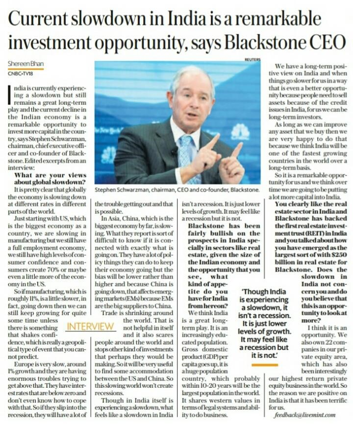 Blackstone keen on India investments and sees slowdown as shortterm